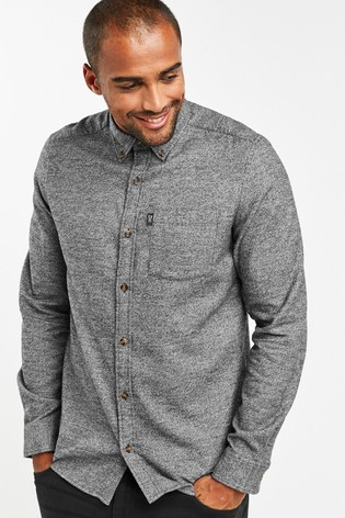 Grey Slim Fit Jaspe Long Sleeve Shirt