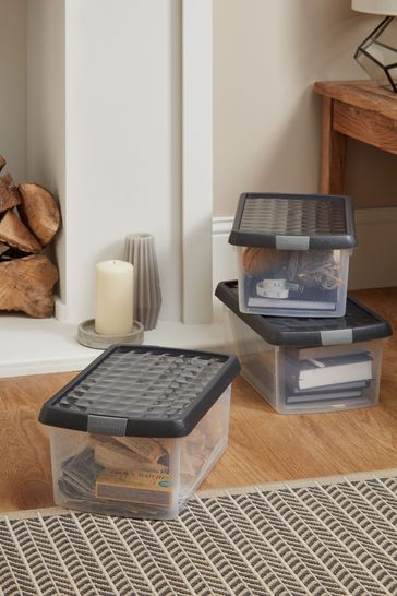 Set of 3 Wham Clip 10.5Ltr Plastic Storage Boxes And Lids