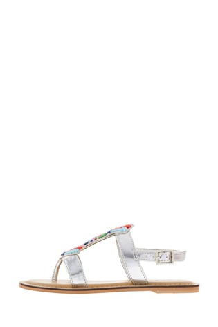 Angels By Accessorize Silver Colourful Bead Metallic Sandals