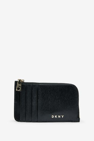 DKNY Black Bryant Park Leather Card Holder
