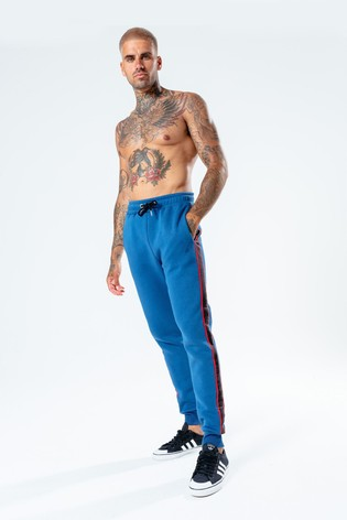 Hype. Mens Blue Sport Tape Joggers