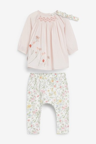 Pink/White Floral Blouse, Leggings And Headband Set (0mths-3yrs)