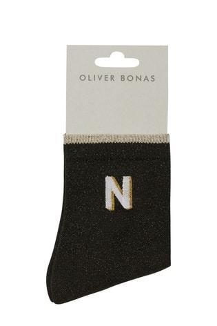 Oliver Bonas Alphabet Embroidered Initial Letter Black Ankle Socks N