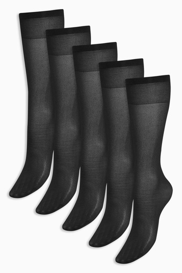 Black Knee High Socks Five Pack