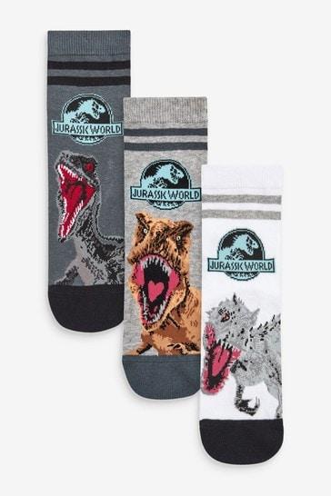 White/Green 3 Pack Jurassic World Socks