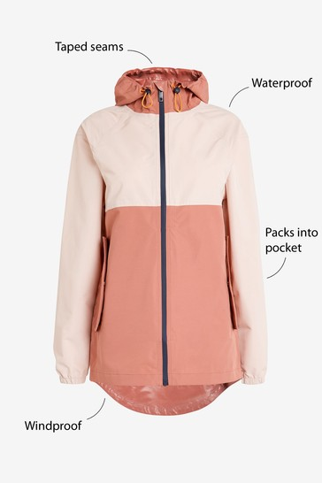 Pink Colourblock Waterproof Rain Mac