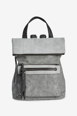 Grey Fabric Mix Utility Rucksack