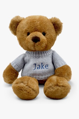Babyblooms Personalised Blue Charlie Bear Soft Toy New Baby Gift