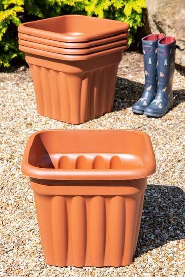 Set of 5 Vista 49cm Square Garden Planters by Wham