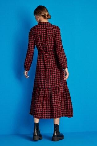 Red Dogtooth Tie Waist Shirt Dress
