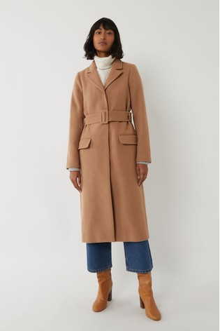 Warehouse Brown Long Belted Coat