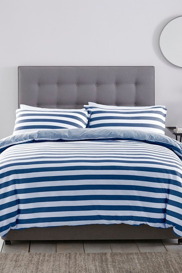 Cotton Jersey Stripe Duvet Cover and Pillowcase Set by Silentnight