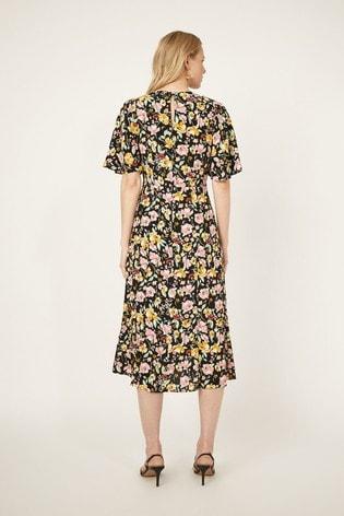 Warehouse Black Riviera Floral Midi Dress