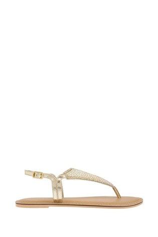 Accessorize Gold Tahiti Beaded Sandals