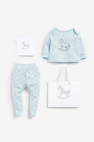 The Little Tailor Blue Jersey Top & Pants Gift Set