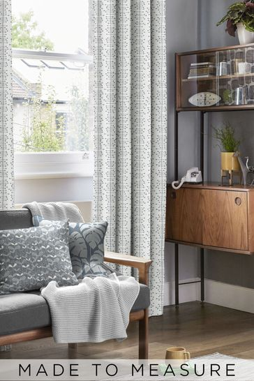 Muscat Small Matchbox Grey Made To Measure Curtains by MissPrint