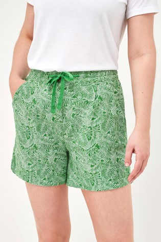 Green Palm Linen Blend Shorts