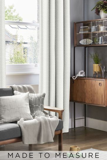 Muscat Small Moonstone Grey Made To Measure Curtains by MissPrint