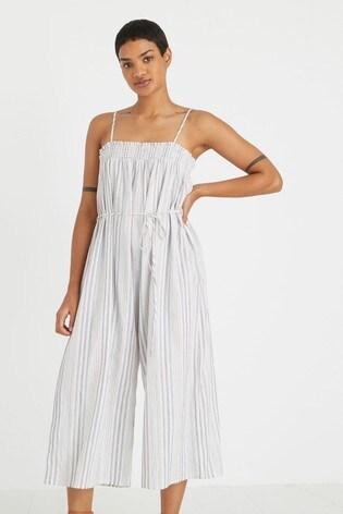 Oliver Bonas Multi Stripe White Jumpsuit