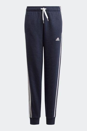 adidas Navy 3 Stripe Fleece Joggers