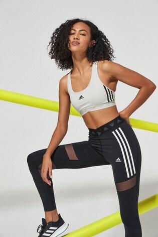 adidas 3 Stripe Mesh Medium Support Sports Bra