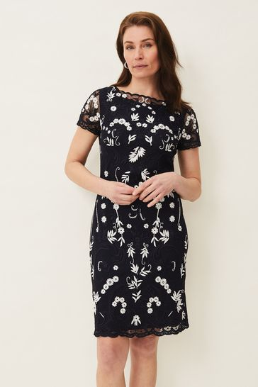 Phase Eight Blue Floris Embroidered Dress