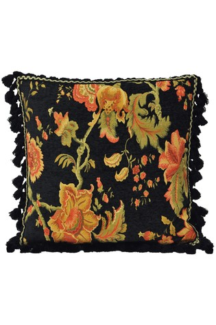 Riva Home Black Fairvale Embroidered Tassel Cushion