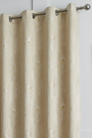 Curtina Feather Jacquard Lined Eyelet Curtains