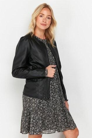 Wallis Black Faux Leather Frill Trim Jacket