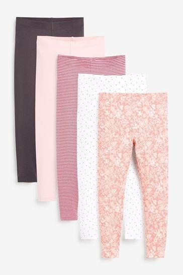 Pretty Pink 5 Pack Leggings (3-16yrs)