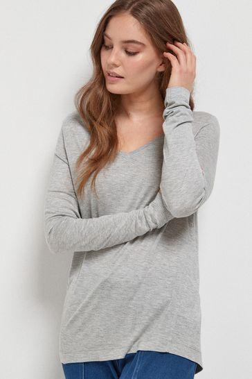Grey Marl Slouch V-Neck Long Sleeve T-Shirt