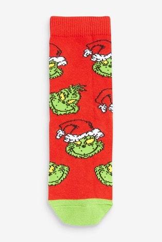 Green 3 Pack Grinch Christmas Socks (Older)
