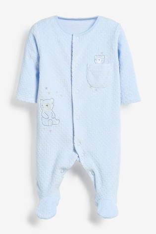 Pale Blue Bear Velour Sleepsuit (0mths-2yrs)