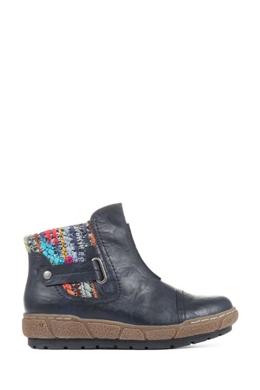 Pavers Navy Ladies Ankle Boots