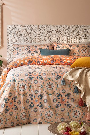 Folk Floral Duvet Cover and Pillowcase Set by Furn