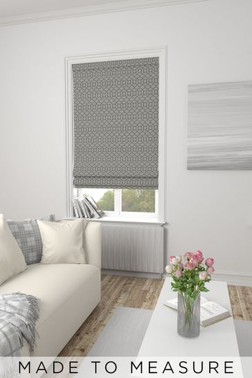 Silver Grey Woven Geo Made To Measure Roman Blind