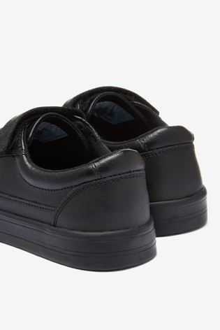 Black Leather Triple Strap Shoes