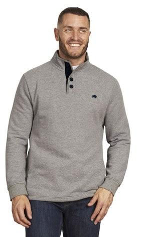 Raging Bull Grey Signature Button Jersey Sweater