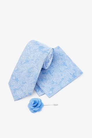 Light Blue Wide Paisley Pattern Tie With Pocket Square And Pin Set