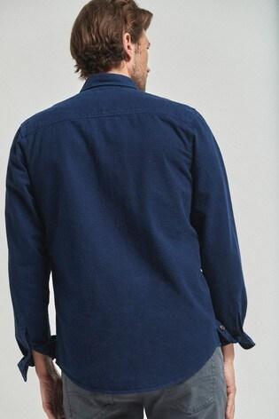 Blue Regular Fit Ripstop Overdye Shirt