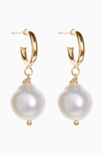 Cabbage White Pearl Drop Earrings