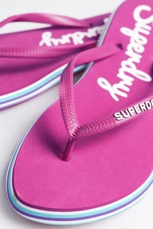 Superdry Pink Rainbow Flip Flops