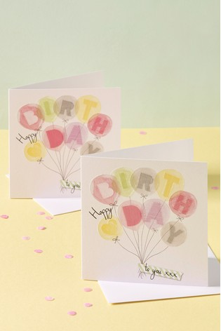 6 Pack Pastel Balloon Birthday Cards