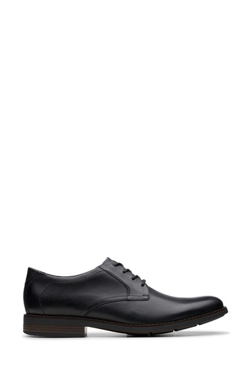 Clarks Black Leather Becken Lace Shoes