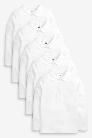 White 5 Pack Long Sleeve Polo Shirts (3-16yrs)