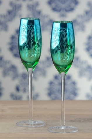 Set of 2 Peacock Champagne Flutes By The DRH Collection