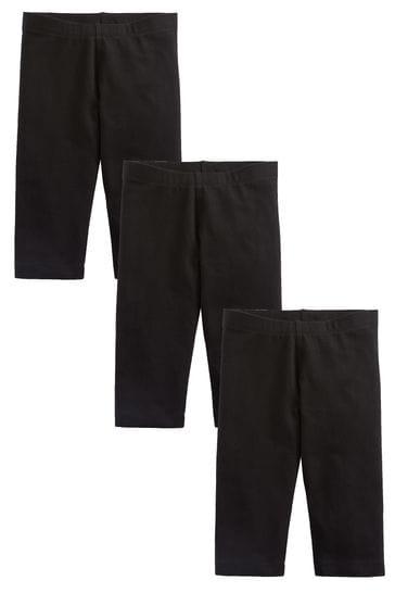 Black 3 Pack Cropped Leggings (3-16yrs)