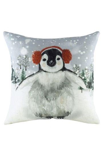 Evans Lichfield White Snowy Penguin Linen Blend Cushion