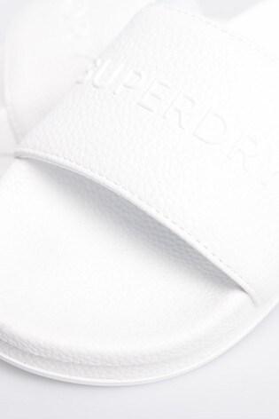 Superdry White Flat Sliders