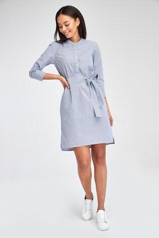 Barbour® Tartan Blue Pinstripe Lucie Shirt Dress